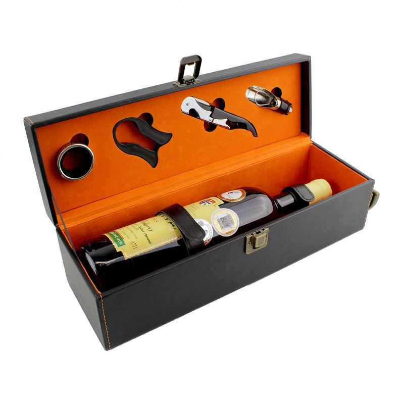 Dárkový box na 1 víno - černý, umělá kůže